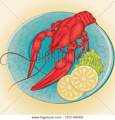 Crayfish on a plate with lemon and green salad
