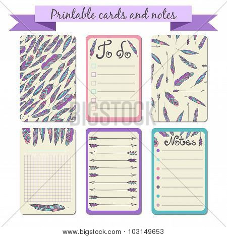 Printable journaling cards with feathers.