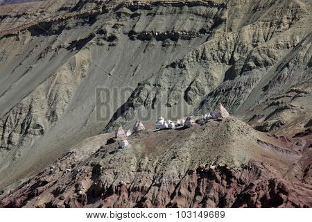 Stupas in the Himalayas (Buddhistic symbol) - Ladakh