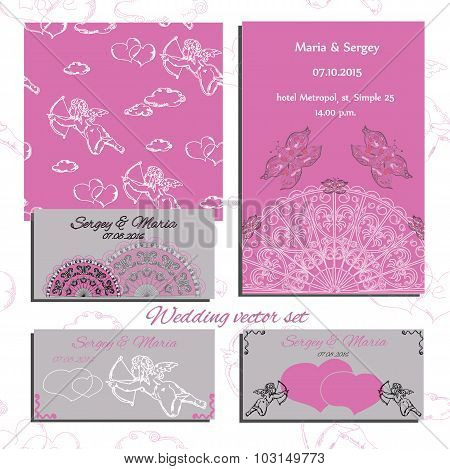 Illustration of wedding set of invitation and cards