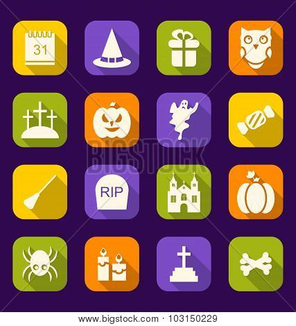Halloween Flat Icons with Long Shadows