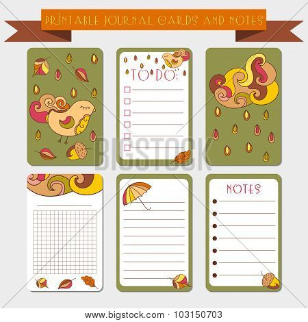 Printable notes, journal cards with autmun illustrations. Template for scrap booking, wrapping, note