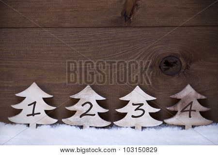 Wooden Christmas Trees On Snow, Copy Space, Four Numbers, Advent