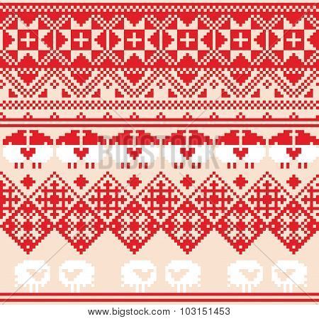 Winter red seamless pattern with sheep. Pixel design background