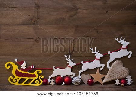 Santa Claus Sled, Reindeer, Christmas Decoration