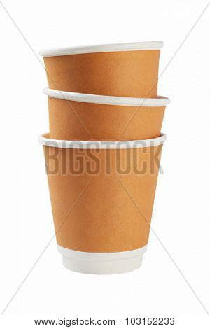 Stack of Paper Coffee Cups on White Background