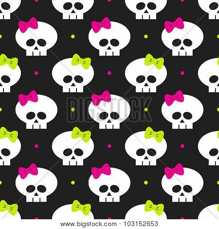 Seamless Pattern With Funny Halloween Skulls Over Black