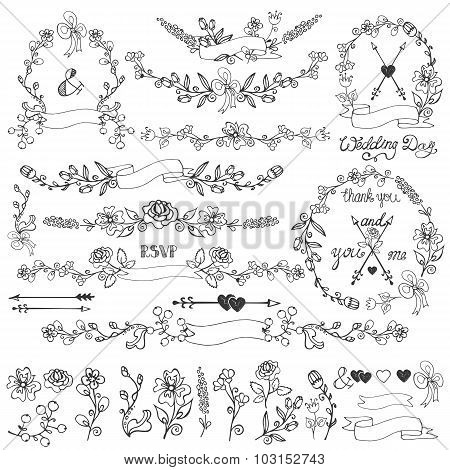 Doodles floral decor set.Wreath,Borders,elements.Outline