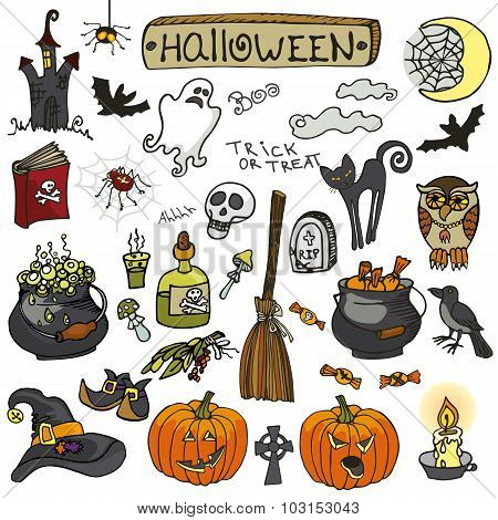 Halloween doodle elements set.Isolated colored icons