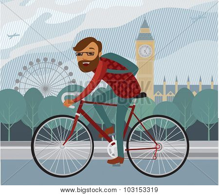 Young Hipster Riding Bike