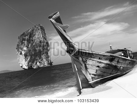 Summer Longtail Boat Poda Island Krabi Thailand Concept