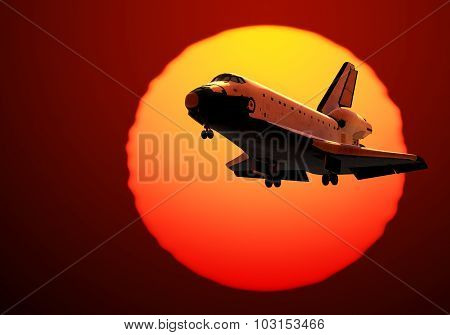 Space Shuttle Landing On The Background Of Sunrise