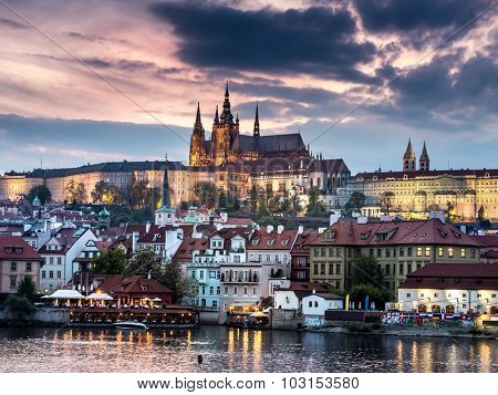 Prague Castle at dusk, Prague, Czech Republic
