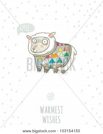 Winter card with cute sheep in knitted sweater