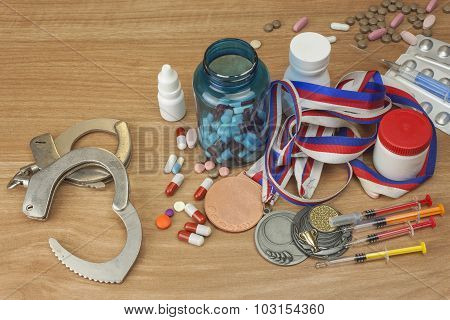 Doping in sport.  Sports fraud, fake winner.