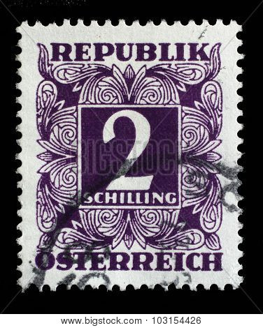 AUSTRIA - CIRCA 1949: A stamp printed in Austria, shows the numbers, face value stamps, circa 1949