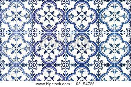 Traditional ornate portuguese tiles azulejos. Vector illustration. 4 color variations in blue.