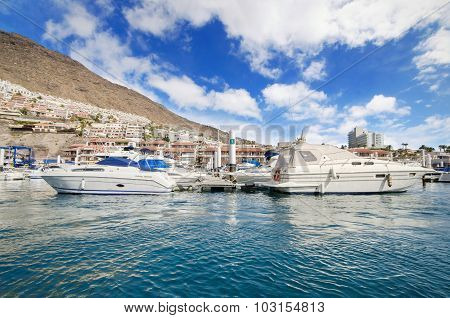 Los Gigantes yatch marina in Tenerife Canary islands Spain.