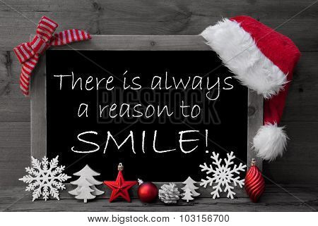 Blackboard Santa Hat Christmas Decoration Quote Reason Smile