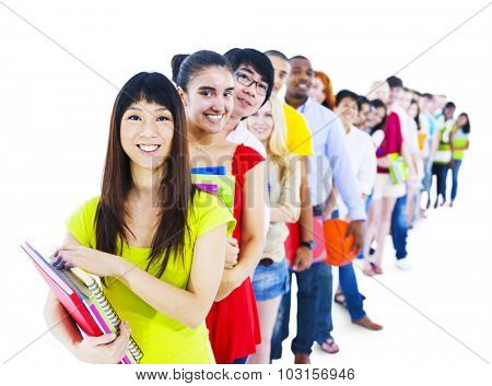 Multi-Ethnic Group Student Standing Line Friends Concept