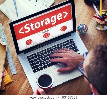 Digital Online Storage Data Storage Office Working Concept