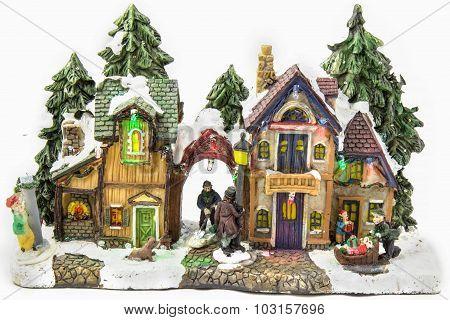 Christmas Sketch With Ceramic Figures