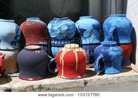 Installation Of Multi-colored Mugs