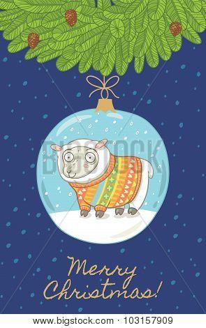 Christmas card with ball and sheep