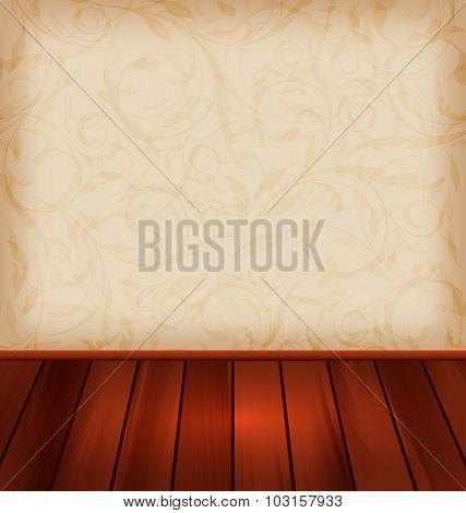 Floral wallpaper and wooden floor