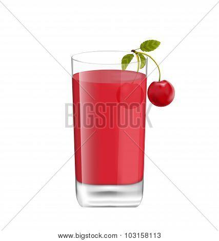 Juice in Glass with Two Cherries