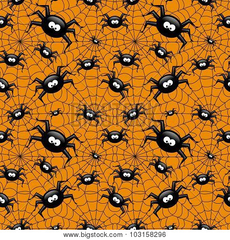 Halloween Seamless Pattern With Spider And Spiders Web Over Orange