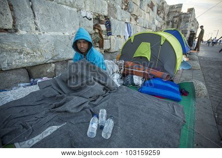 KOS, GREECE - SEP 28, 2015: Unidentified Refugee. Kos island is located just 4 kilometers from the Turkish coast, and many refugees come from Turkey in an inflatable boats.