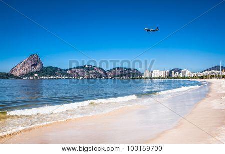 Botafogo beach and Sugarloaf  mountain in Rio de Janeiro, Brazil.