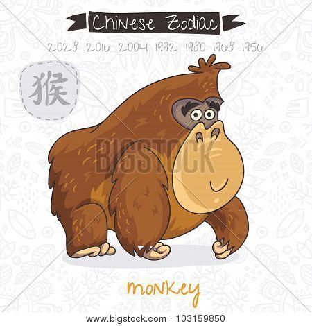 Chinese Zodiac. Sign Monkey. Vector illustration