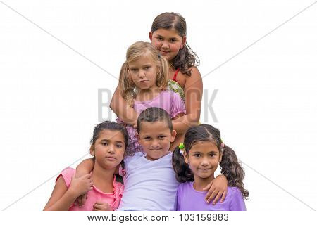 Half Sister Sad In Gypsy Family Group Children Hug Each Other