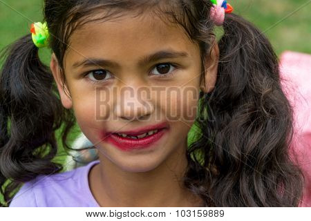 Little Gypsy Girl With Smudged Lipstick Tried To Be Pretty Model Fashion