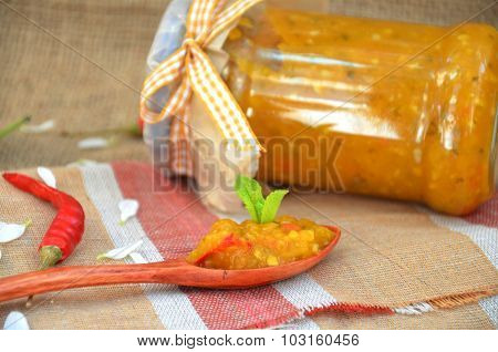 piquant sauce of white plums