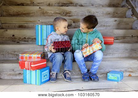 children exchanging gifts