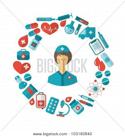 Flat Icon of Nurse and Medical Equipment and Objects