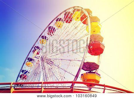 Vintage Retro Toned Picture Of An Amusement Park, Usa.