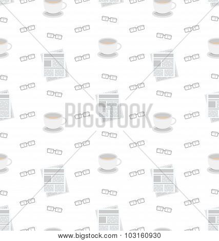 Seamless Pattern with Newspapers, Coffee and Eyeglasses, Flat Business Icons, Repeating Wallpaper