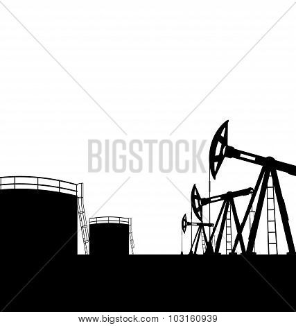 Oil pump jack for petroleum and reserve tanks, isolated on white