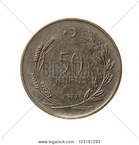 Coin Fifty Kurush Turkey Fone.vid Isolated On A White  Background. Top View.