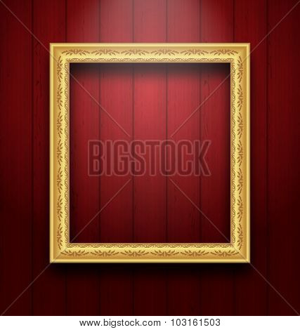 Vintage picture frame on wooden wall