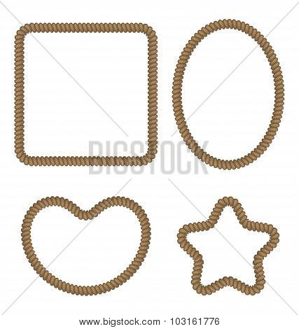 Rope geometric figures in different forms - rectangle, oval, hea