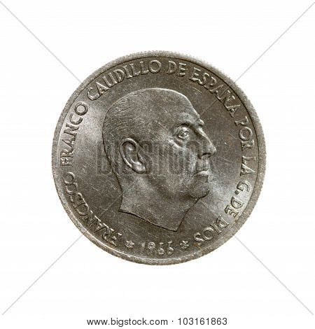 Fifty Cents Coin Spain Isolated On White  Background. Top View.