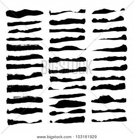 Large Set Of Thick Paint Strokes Isolated On White Background