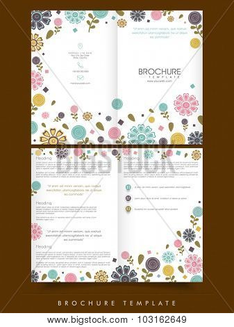 Professional Business Brochure, Template or Flyer design decorated with colorful flowers.