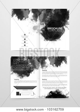 Creative professional Two page Business Brochure, Flyer, Banner or Template with digital device.