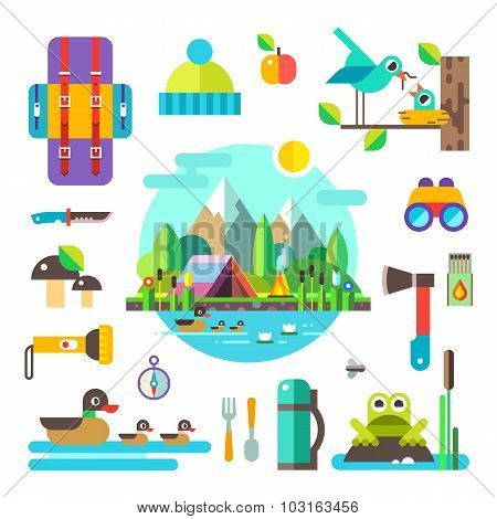 Set of hike elements and icons. Camping objects and landscape. Stock vector illustration in flat sty